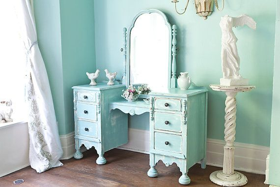 Antique vanity shabby chic aqua blue distressed dressing make up table  light turquoise beach coastal cottage - Antique Vanity Shabby Chic Aqua Blue Distressed Dressing Make Up