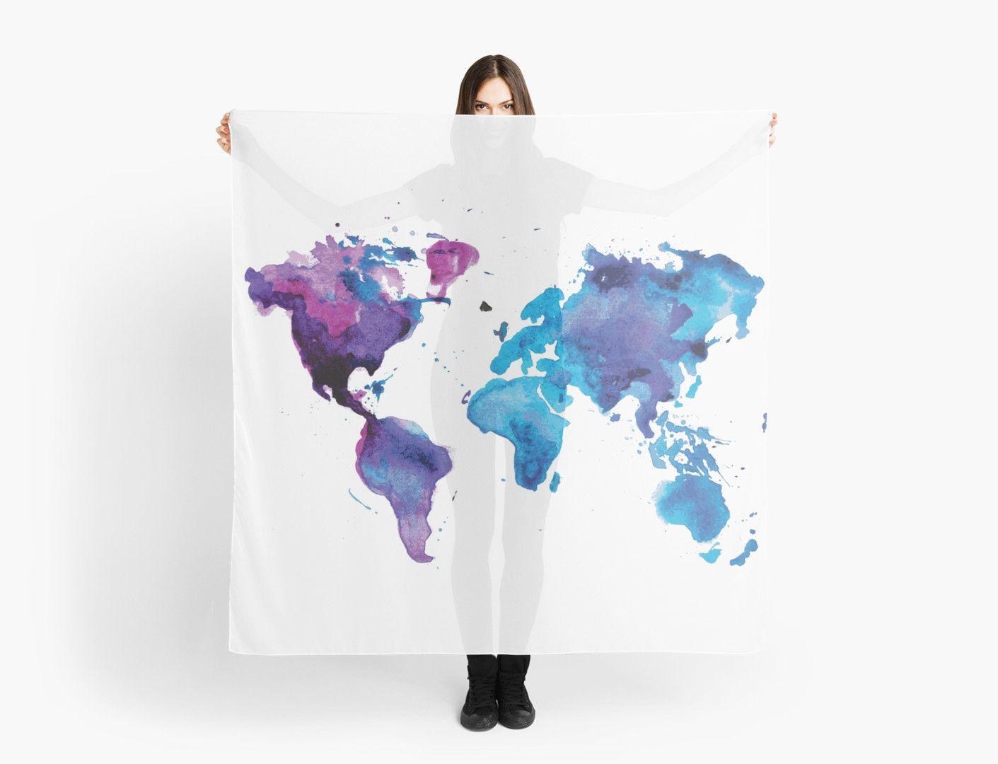 Watercolor Map of the World (t-shirt) by Anastasiia Kucherenko ...