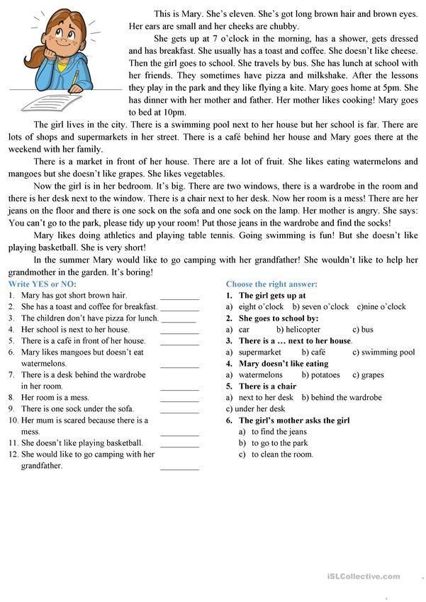 reading comprehension | Worksheets | 英語 et 文章