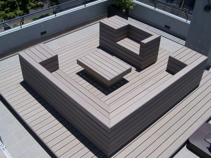 Deck para pisos color gris en lounge terraza