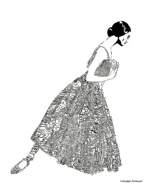 A drawing of Julie Kent, where her dress is composed of all the ballets she has ever performed. (In our estimation, 100.) Illustration by Michael Arthur based on a photograph by Roy Round.