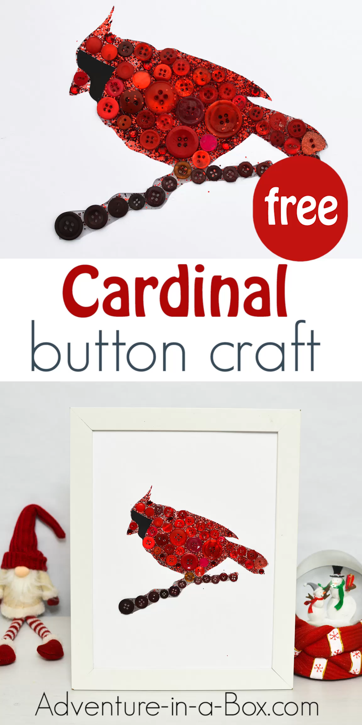 Add some button Christmas art featuring a cardinal bird to your home décor! So easy to put together that even young children can make this winter craft.