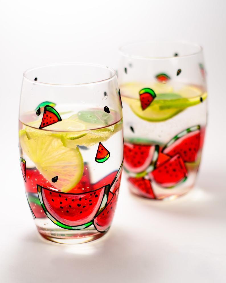 Watermelon Glass Main Painted Wine Glasses Bachelorette Etsy In 2020 Painted Wine Glasses Bachelorette Painted Wine Glasses Wine