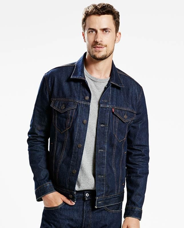 Levi S Men S Dark Rinse Denim Regular Fit Trucker Jacket Jaquetas De Ganga Casaco Jeans Masculino Jaqueta Jeans Masculina