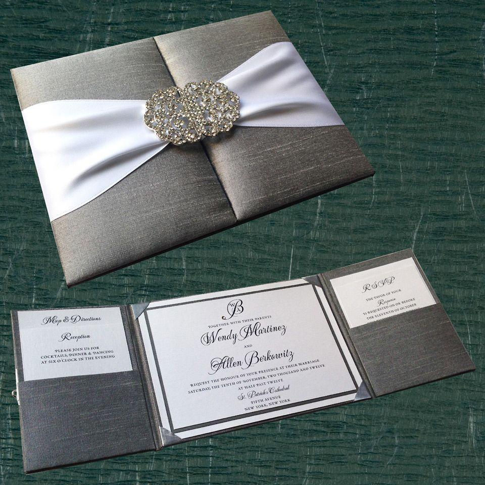 box wedding invitations online%0A Silk pocket box wedding invitation with crystal buckle clasp  white and  gray metallic paper  swarovski crystal  digital printing