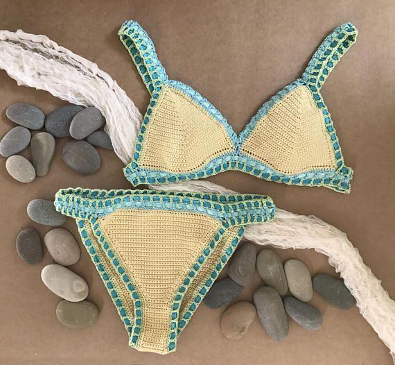 Crochet Bikini Pattern Malibu Bikini Boho Multi Color Top Crochet