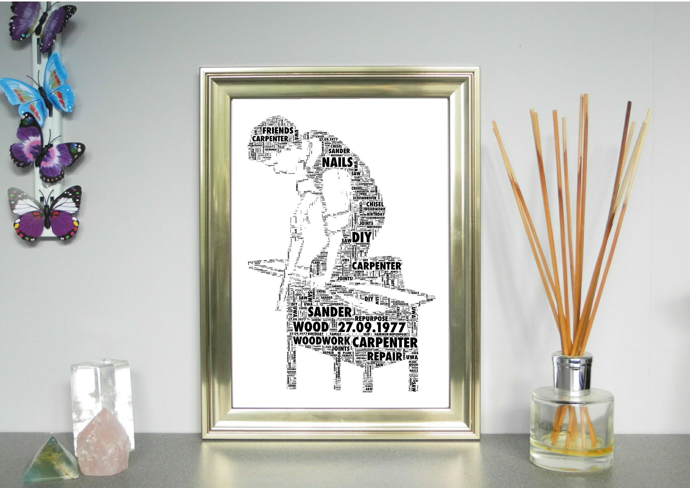 Personalised Word Art Carpenter Woodworker Print Free Uk P P Birthday Special Occasion Personalized Word Art Word Art Word Collage