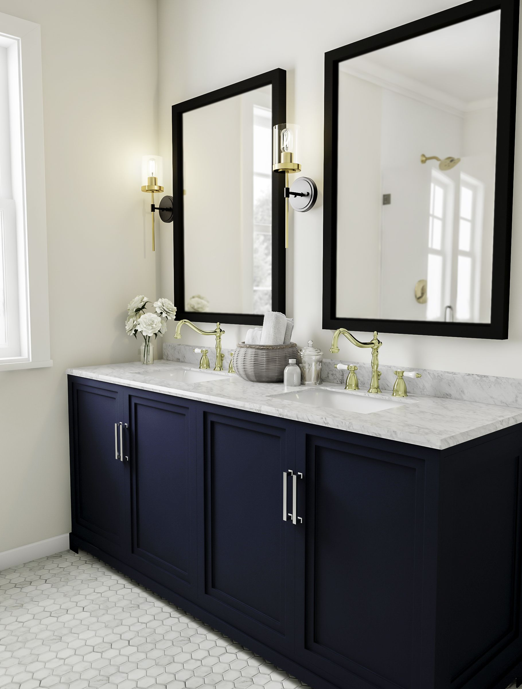 Traditional Bathroom With Dark Blue Vanity Bathroom Vanity Decor Bamboo Bathroom Traditional Bathroom [ 2400 x 1820 Pixel ]