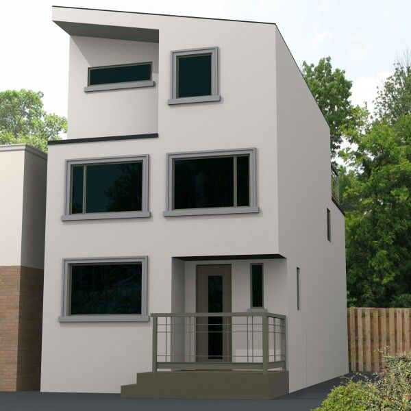Modern home with minimalist style stucco trim and window