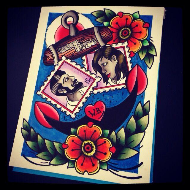 Travel Love #acrylic #painting #tattooflash