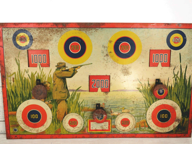 Vintage Wyandotte Duck Hunting Tin Litho Shooting Dart Target Game ...