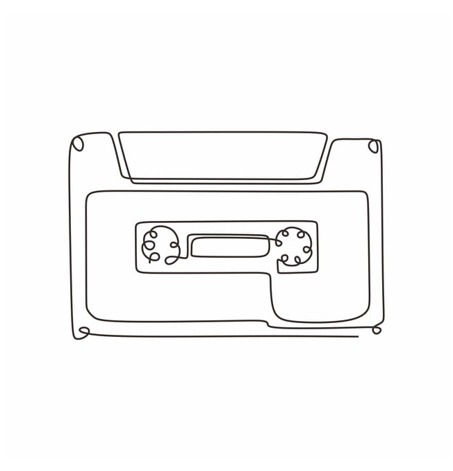 Continuous One Line Drawing Cassette Tape Ribbon Vector Illustration Minimalist Design Single Lineart Ske Minimalist Drawing Line Art Design Line Art Drawings