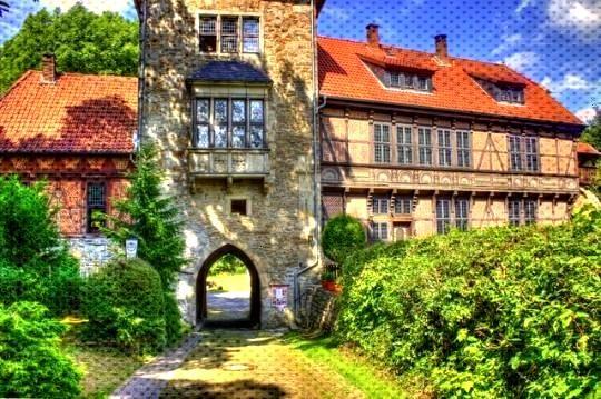 Medieval view in Schaumburg, Niedersachsen. Northern Germany -