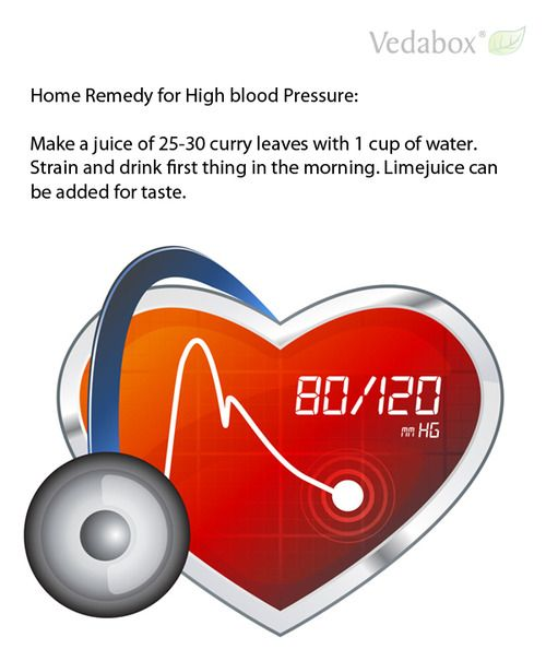 Home Remedy for High blood Pressure: Make a juice of 25-30 curry leaves with 1 cup of water. Strain and drink first thing in the morning. Li...