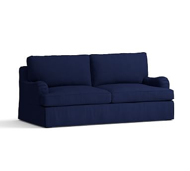 PB Comfort English Arm Sleeper Sofa Slipcover, Box Edge, Linen Blend Peacoat Navy