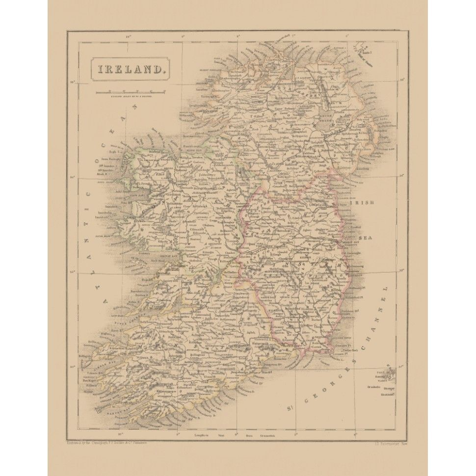 Old Map Print Of Ireland For Wall Art Design Map Art Handmade Paper Print Ireland Map Map Handmade Paper