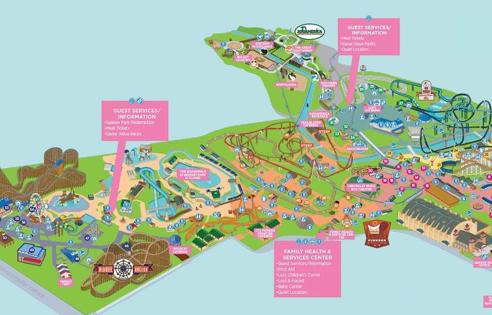 Hershey Park Map Hersheypark 2016 Springtime in the Park map | Trip Planning  Hershey Park Map