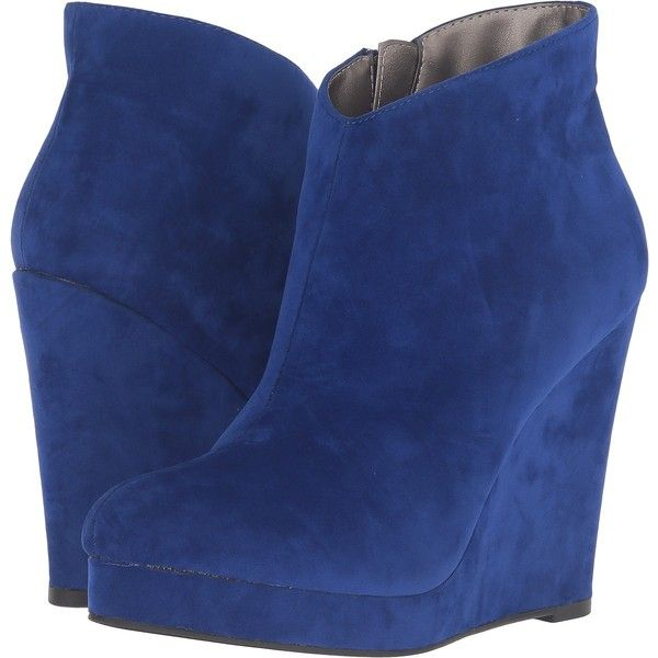 Michael Antonio Cerras - Suede - Velvet (Cobalt) Women's Boots ($45) ❤ liked on Polyvore featuring shoes, boots, blue, mid-calf boots, zipper boots, wedge shoes, blue boots, wedge heel boots and blue suede shoes