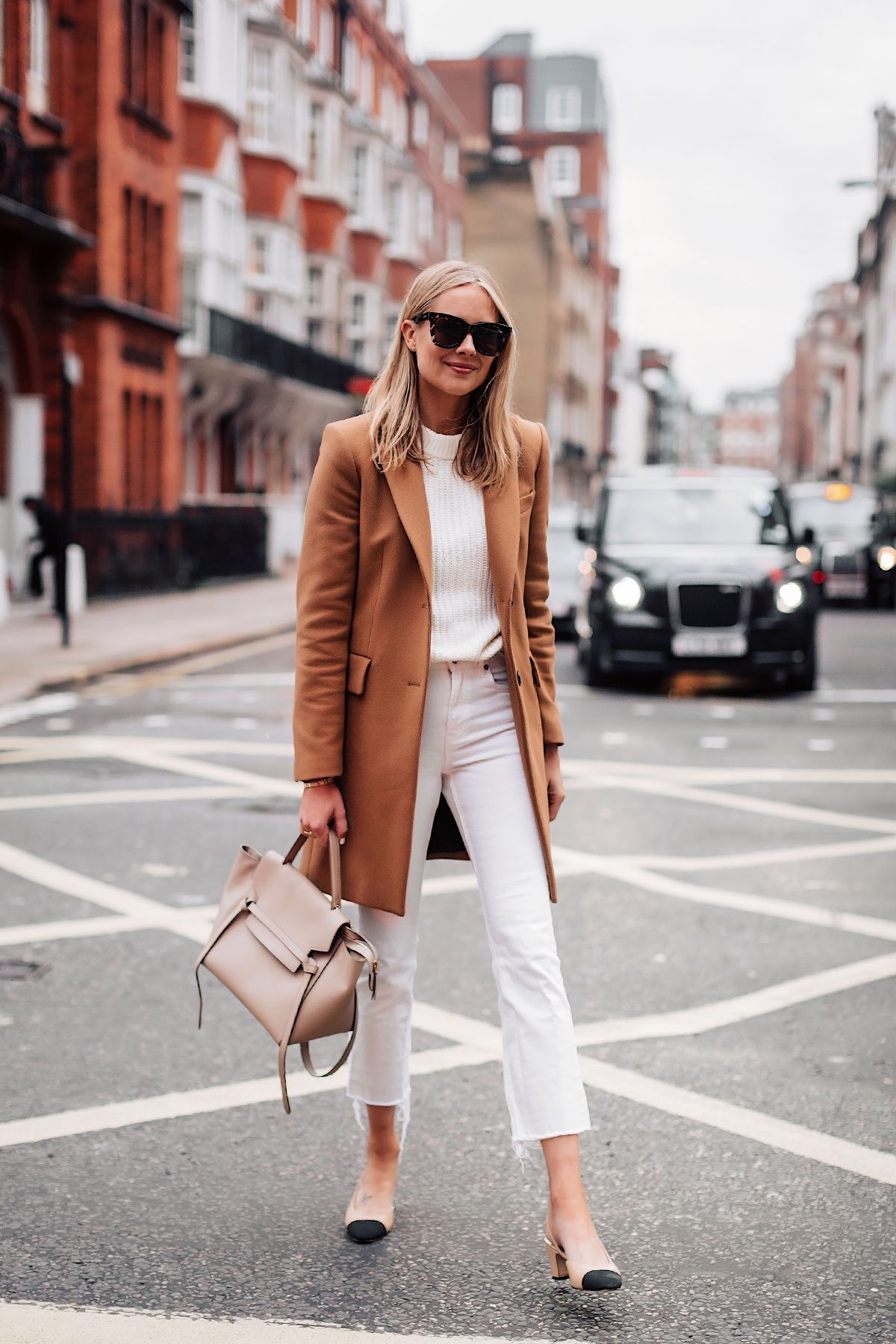 bd37651eb9 Blonde Woman Wearing Zara Camel Coat White Sweater White Cropped Jeans  Chanel Slingback Shoes Celine Mini Belt Bag Taupe Fashion Jackson San Diego  Fashion ...