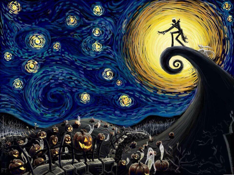 Jack Starry Night Tim Burton Art Nightmare Before Christmas Art