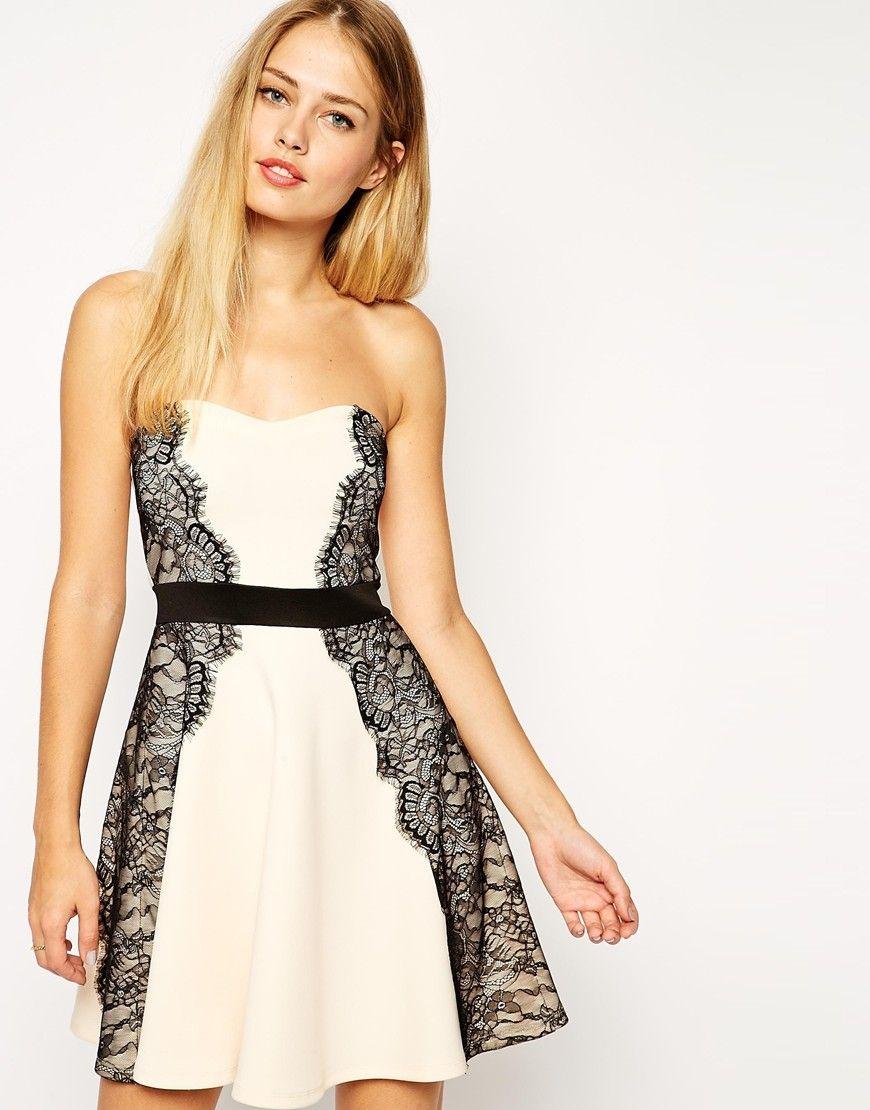 Enlarge ASOS Bandeau Lace Placed Skater Dress
