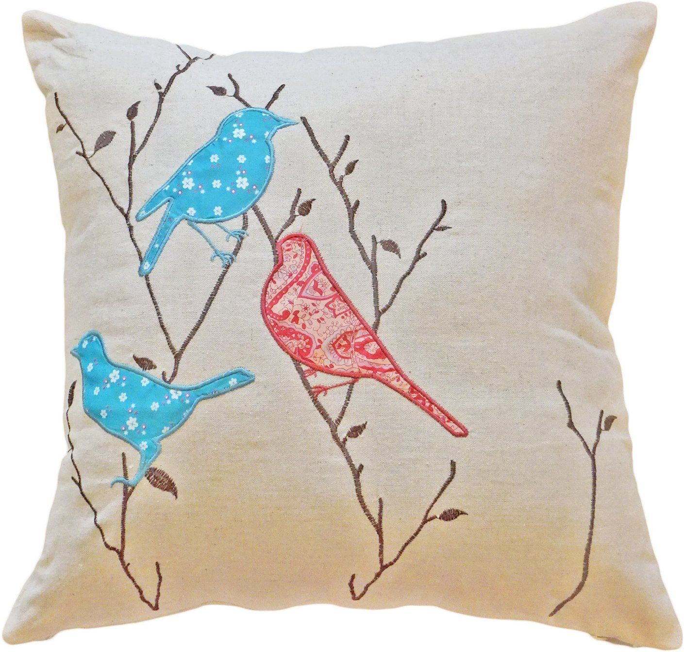 Decorative Birds Applique with Embroidery Leaves Floral Pillow ...