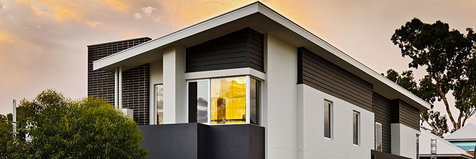 Contrasting facade with brick render and weatherboard for Weatherboard garage designs