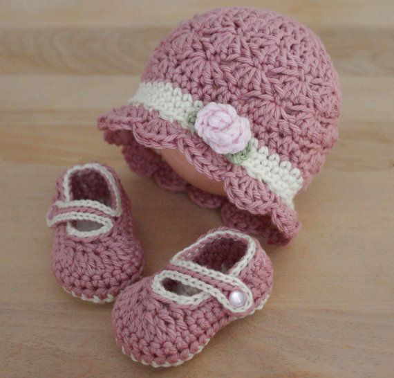 70053b36d Crochet Baby Girl Hat and Booties Set Hat and Mary by LoopsInBloom ...