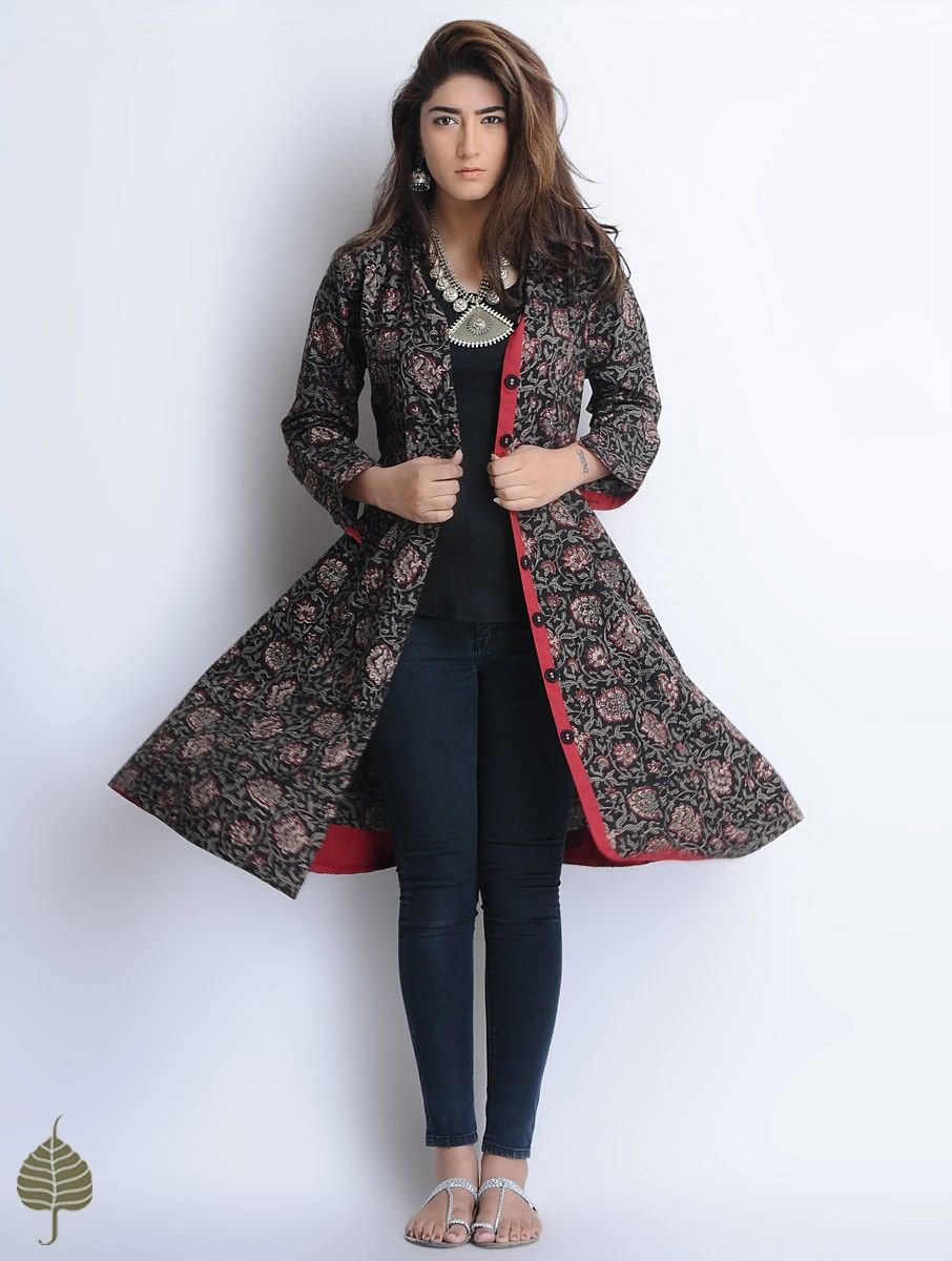 Buy Black Red Grey Natural Dyed Bagru Printed Button Down Cotton Dress Jacket  by Jaypore Women Jackets Online at Jaypore.com 8ee727e5b