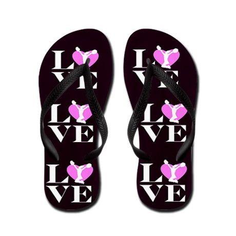 a006ed088f4e29 Love Cheer Black Flip Flops on CafePress.com