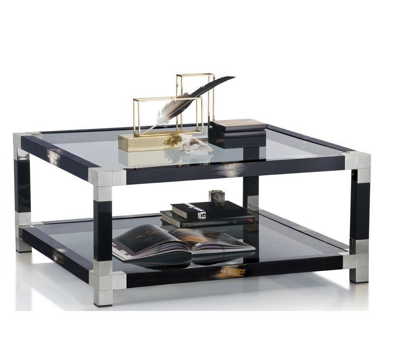 Luxe Italian Designer Black Horn Chrome Coffee Table Inspiring