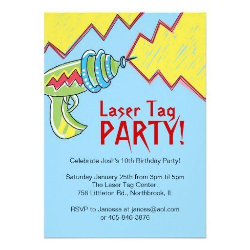 4ba5f60b58c9 Boys Laser Tag Party Invitations   Zazzle.com   7th Birthday   Laser ...