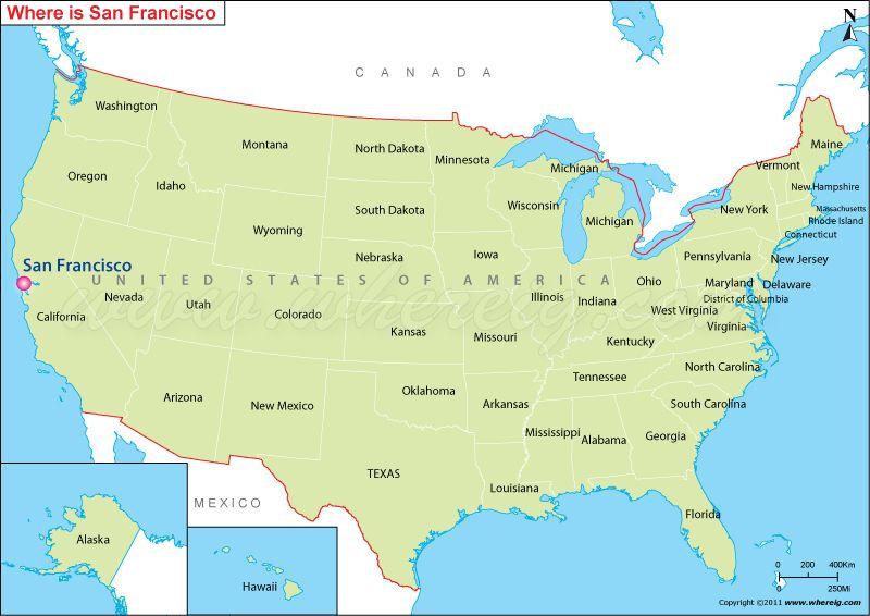 san francisco on map of usa michigan map