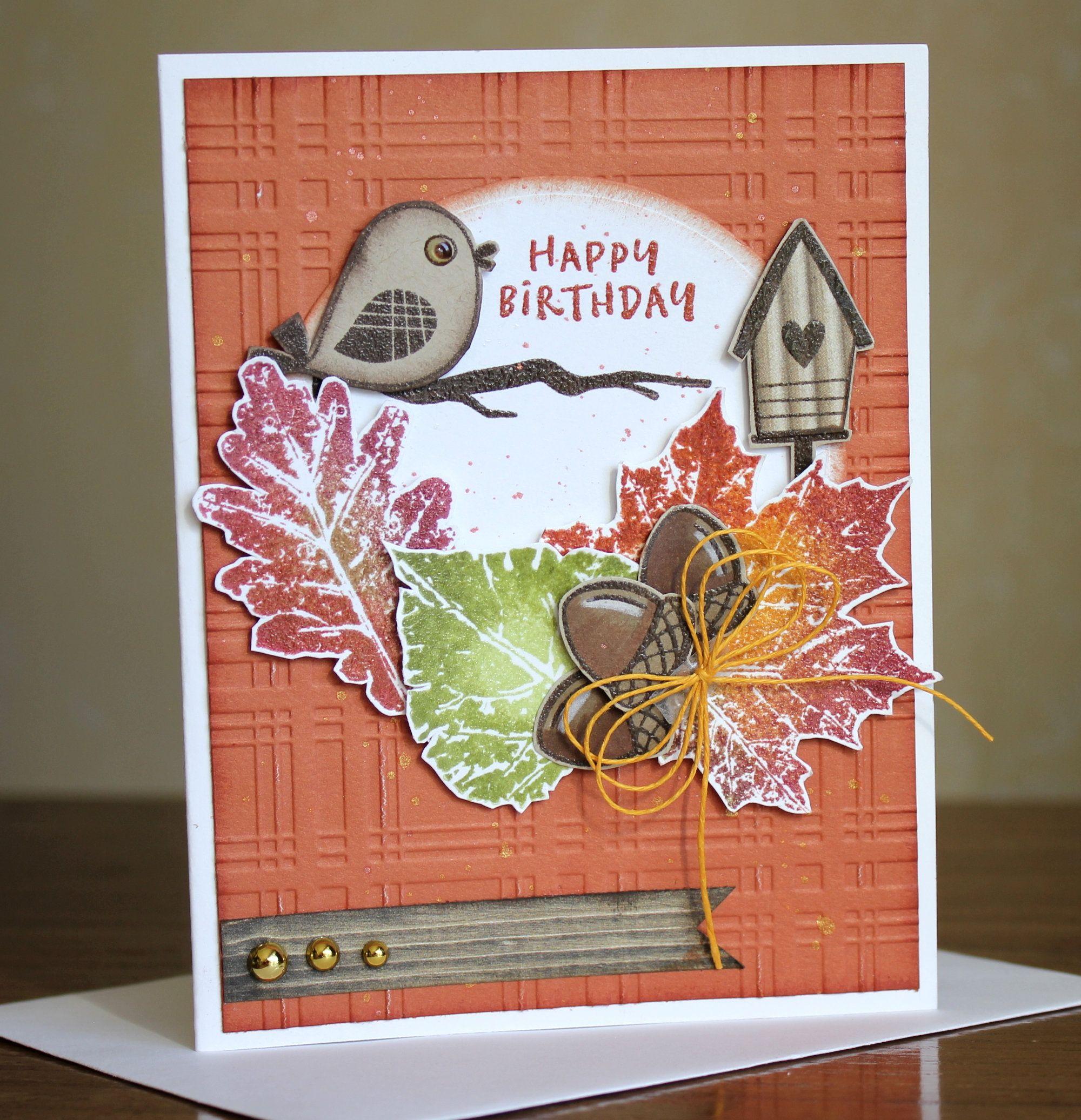 diy card kit 3d fall leaves and bird birthday card kit