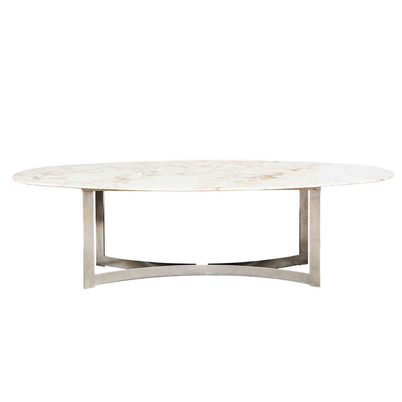 Oval marble top dining table from a unique collection of for Custom made marble dining tables