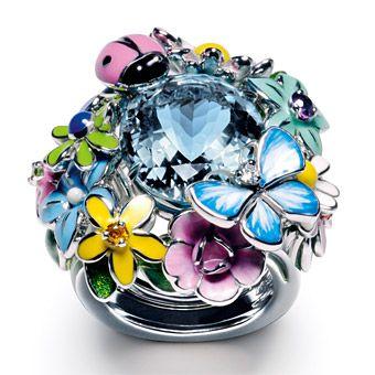 Dior - Aquamarine, Tsavorite, Yellow Sapphire & Lacquer