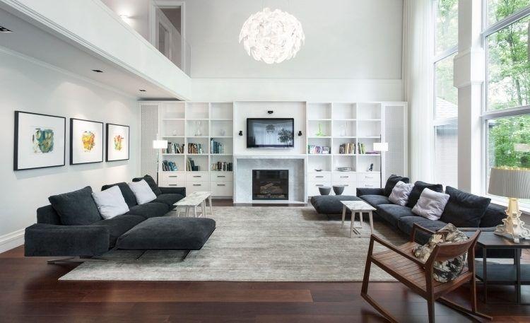 Feng Shui Wohnzimmer Einrichten Schwarz Weiss Holzboden Wandregal Fernseher Leuchte