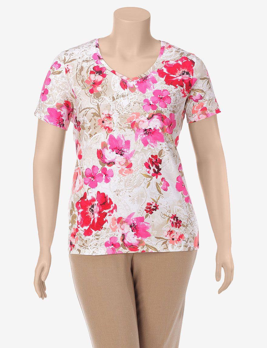 6781a48180c  10 Rebecca Malone Coral Floral Print Knit Top – Plus-sizes - Tops ...