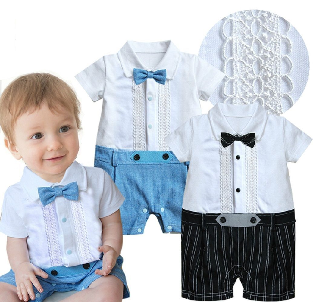 Baby Boy Wedding Christening Formal Party Tuxedo Suit Outfit NEWBORN ...