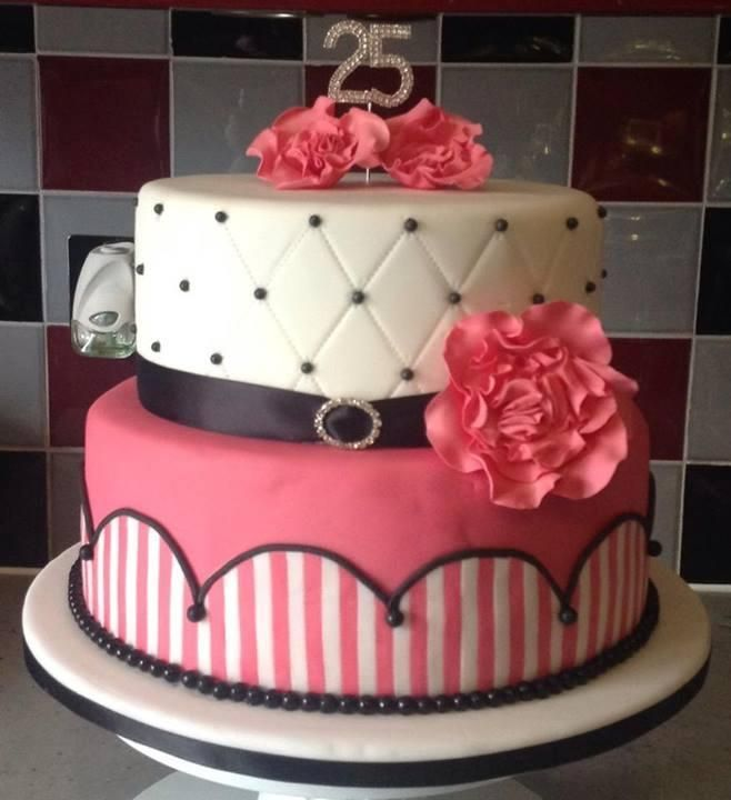 25th Birthday Pink Birthday Cake By Sandra Cake Decorating Ideas