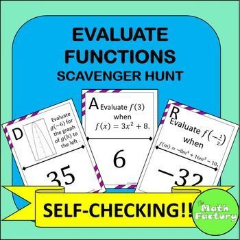Evaluating Functions Scavenger Hunt Activity | Worksheets, Students ...