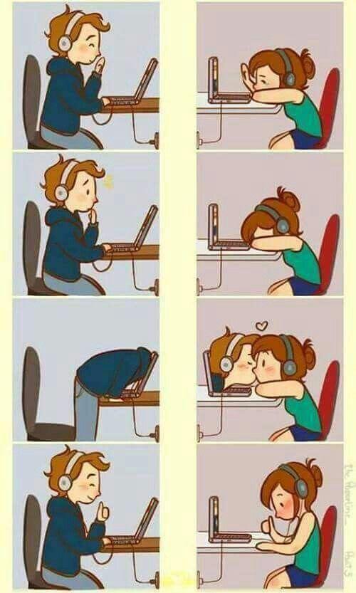 Beijo Virtual Historias Fofas Cartoon De Casais Desenhos De Amor