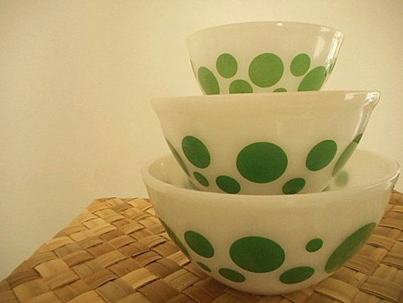 Pyrex Agee Mixing Bowls Green Polka Dots Set of by MYVINTAGEMOON ...