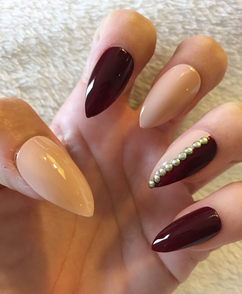 Set of 24 Nude Burgundy Mix Match Handmade Stiletto Nails Claws ...