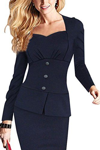 JOYEASYBUY Womens Sexy Bodycon Stretch Pencil Long Sleeve Ol Formal Party Dress XXLarge Dark Blue * Check out this great product.