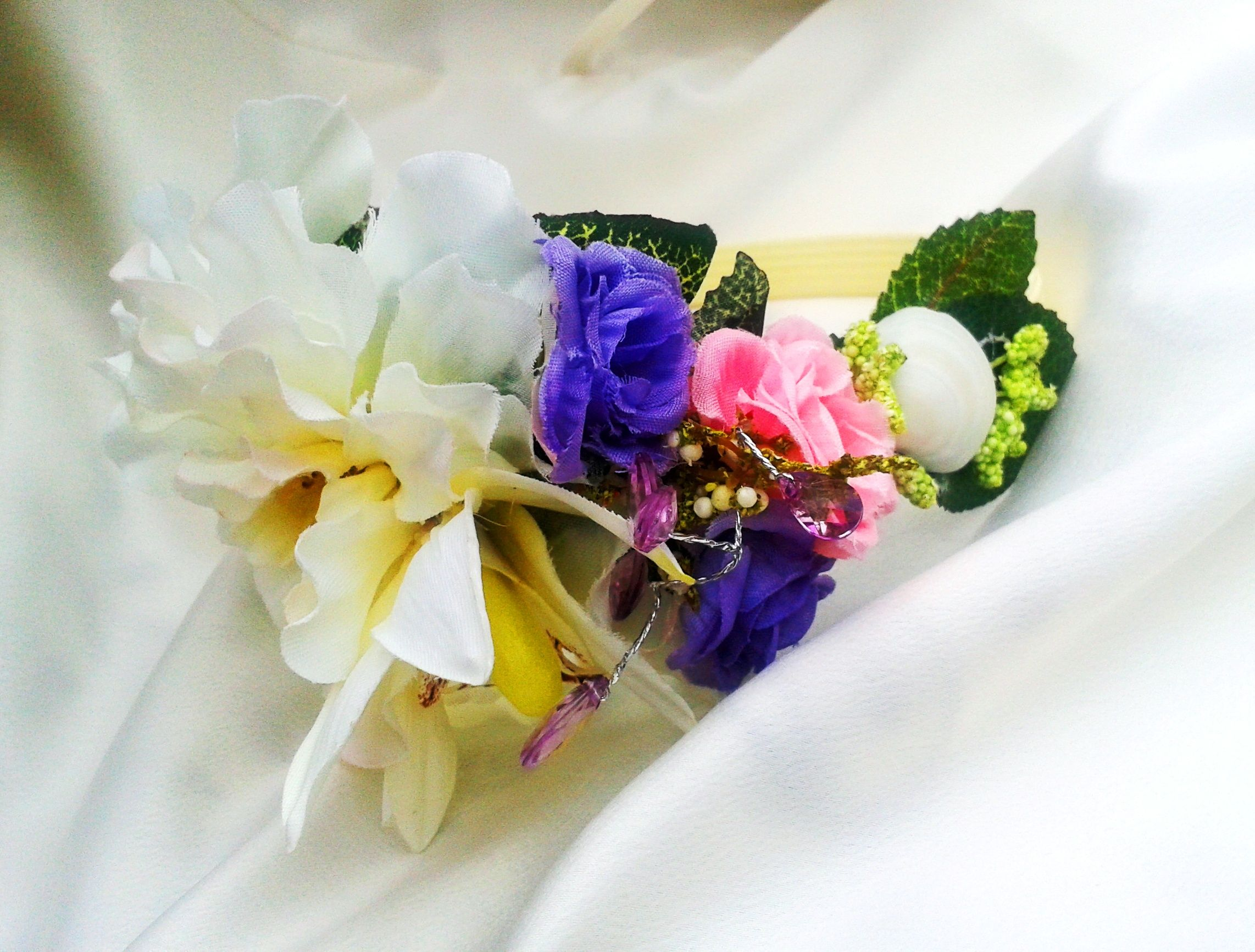 Tropical Headband with Orchids, Pearls, and Tropical flowers