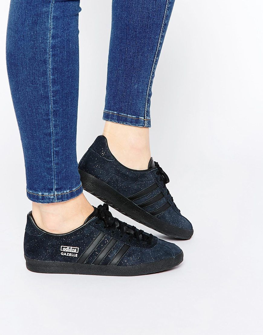 Image 1 of adidas Originals Glitter Suede Black Gazelle OG