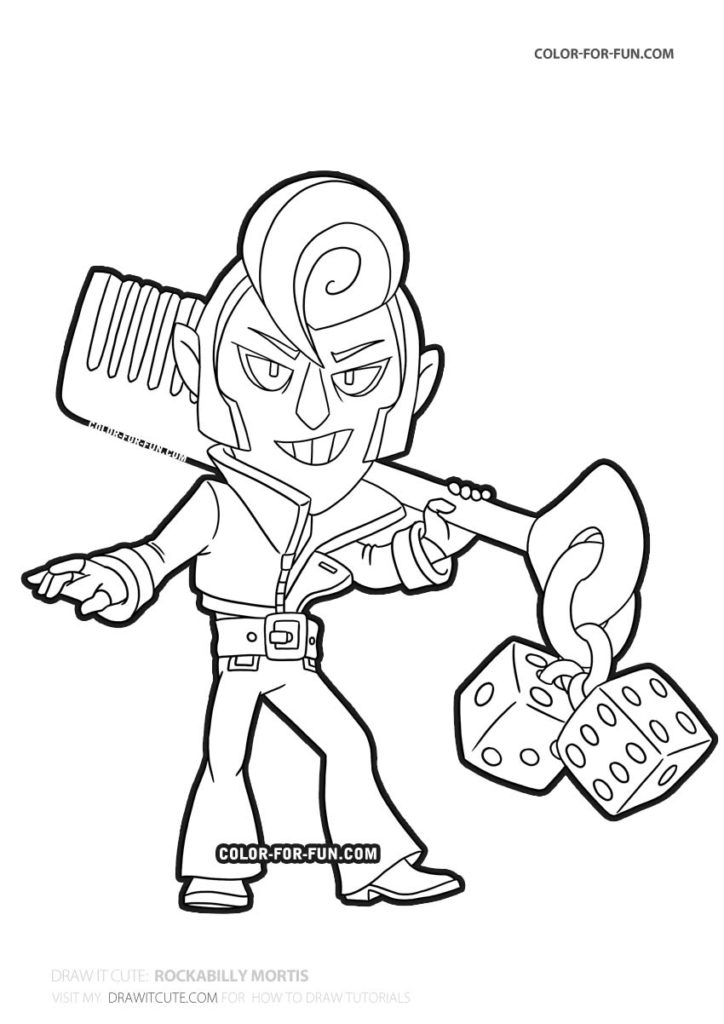 rockabilly mortis  brawl stars coloring page  color for