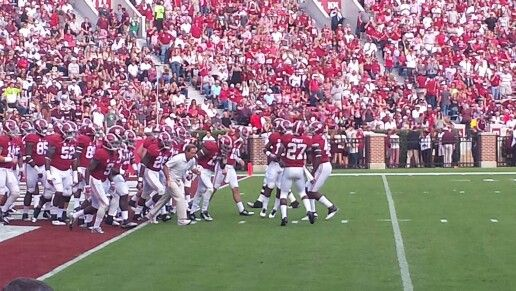 Roll tide...so much fun sitting this close to field, for up close action. #crimsontidefootball