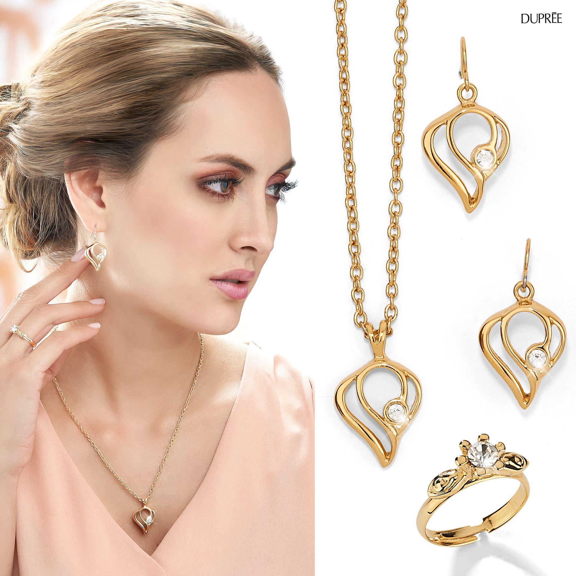 3b35296c66d5 Accesorios dorados elegantes. Noche de fiesta  collar  aretes  anillo.  Dupree